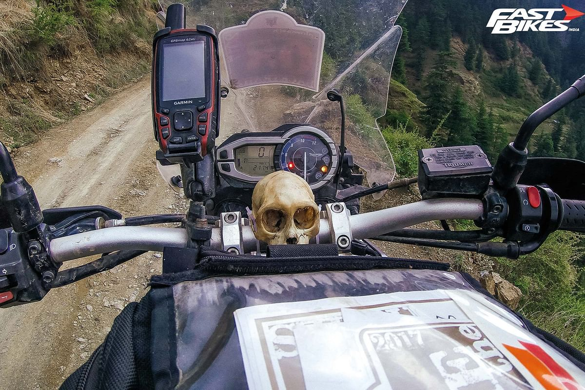 Essentials for hitting the back trails: a skull and GPS