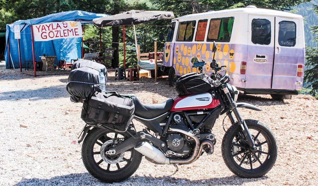 Manas' weapon of choice – the Ducati Scrambler