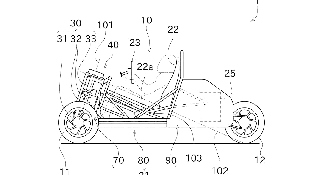 Kawasaki three-wheeler patent design left profile