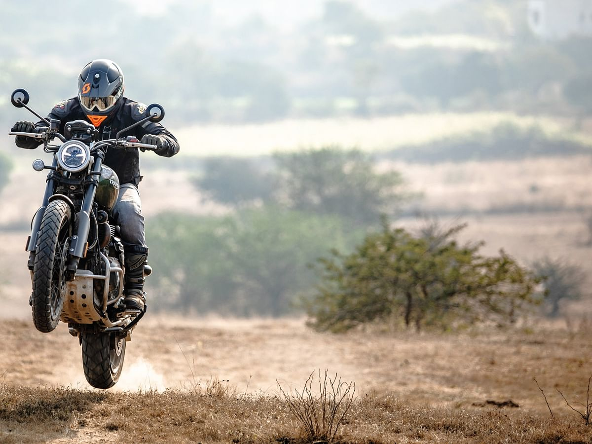 The 21:17in (front:rear) rims are ideal for off-roading but the geometry is such that the Scrambler rides like a neo-retro on the road.