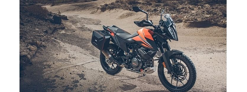 KTM 390 Adventure with Powerparts crash bars, panniers and exhaust mounted