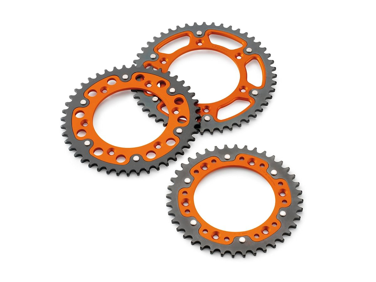 KTM offers aluminium sprockets in orange.
