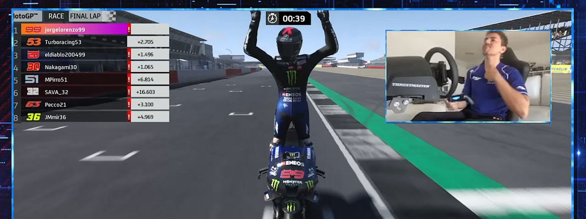 Jorge Lorenzo wins the Virtual British GP