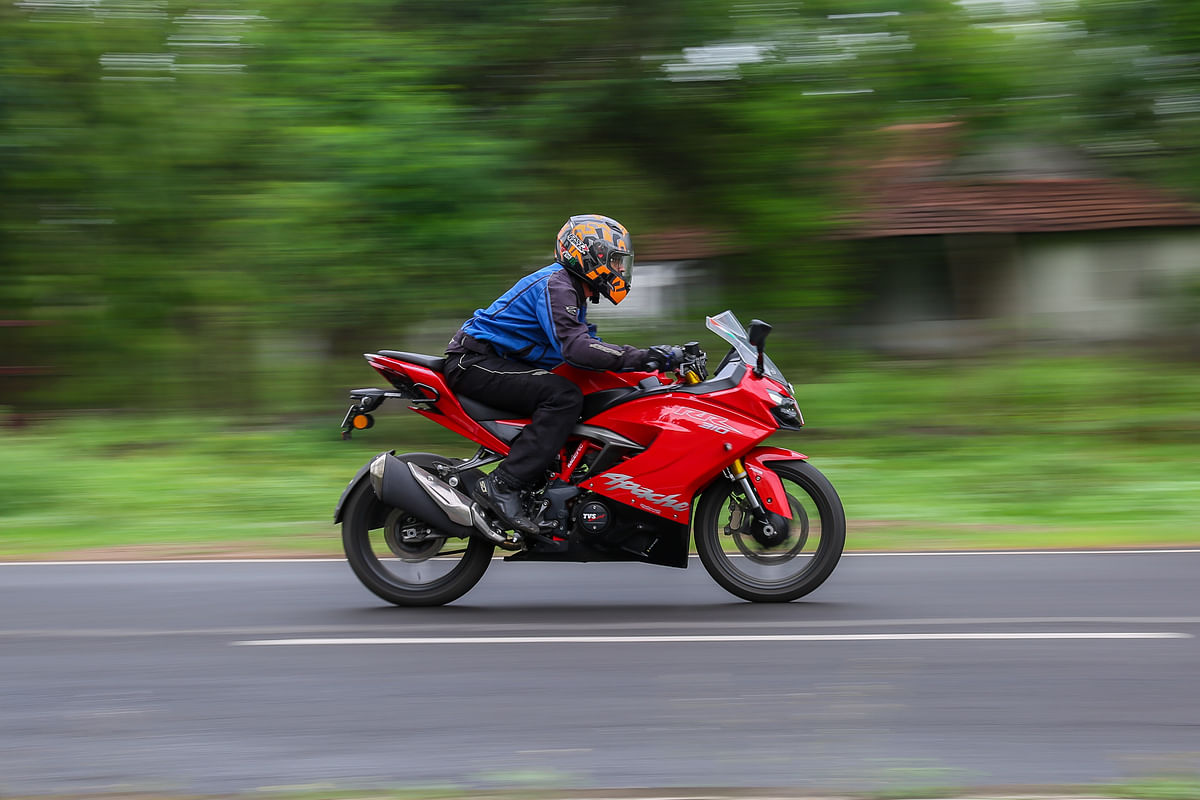The TVS Apache RR310 BS6 is planted at high speeds