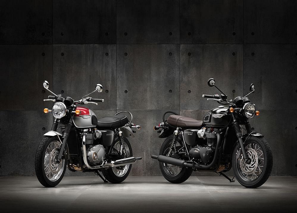 The standard Bonneville T120 beside the Black edition