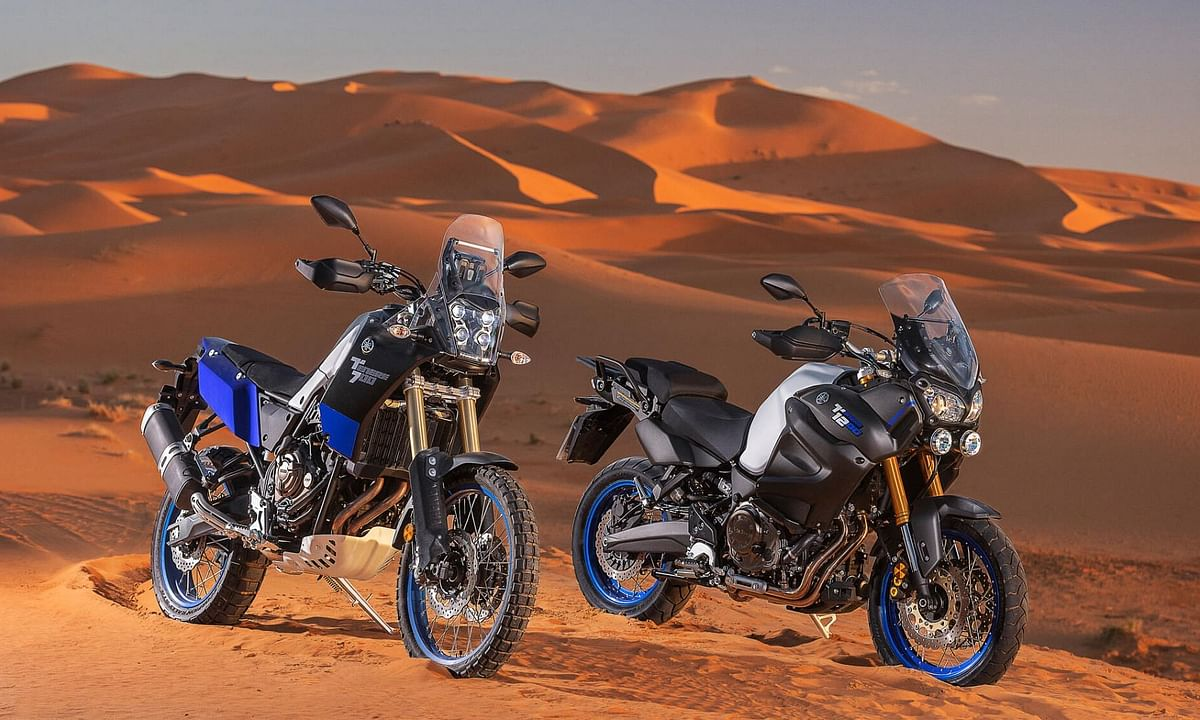 The Ténéré 700 and 1200 out on the dunes