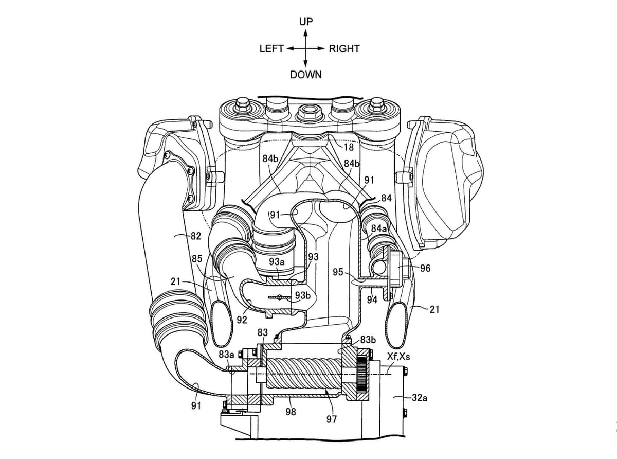 Cross-section schematic of the supercharger viewed from the rear