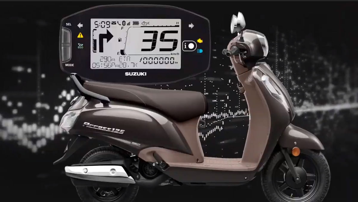 New Access 125 in Metallic Royal Bronze colour with Bluetooth-compatible console showcased