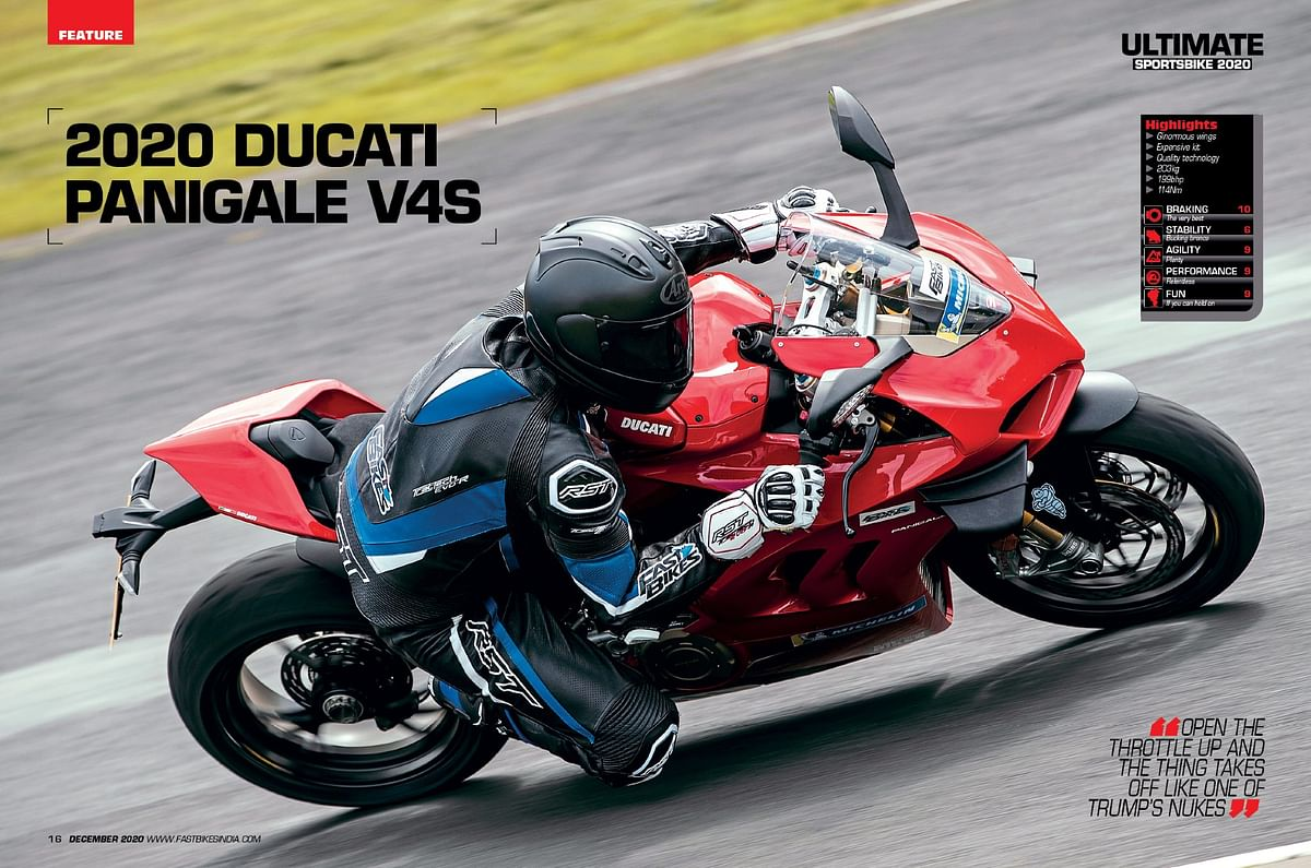 The Panigale V4 S is the most potent of all the bikes on the test