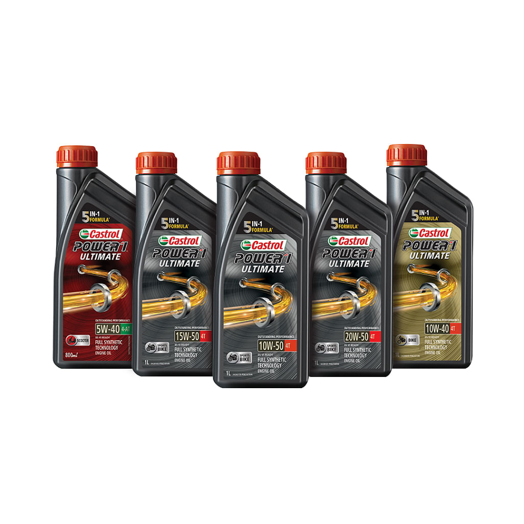 The entire range of Power1 Ultimate synthetic oil for bikes and scooters