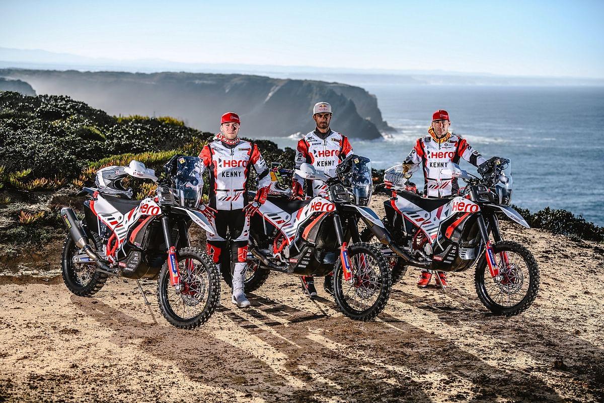 Hero MotoSports Team Rally riders -  Sebastian Buhler; CS Santosh  and Joaquim Rodrigues