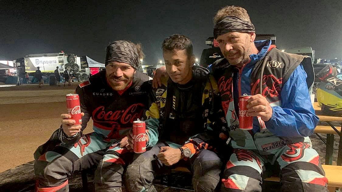 From left - Pablo Guillen, Ashish Raorane and Andrew Houlihan at the end of the Dakar Stage 11