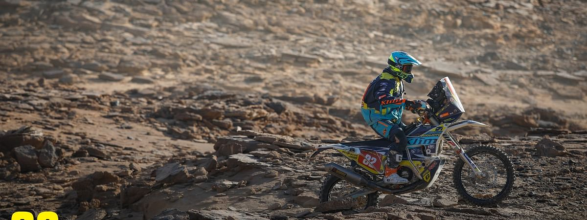 Ashish's improved his Dakar placings, despite a crash in the rocky, enduro-like sections