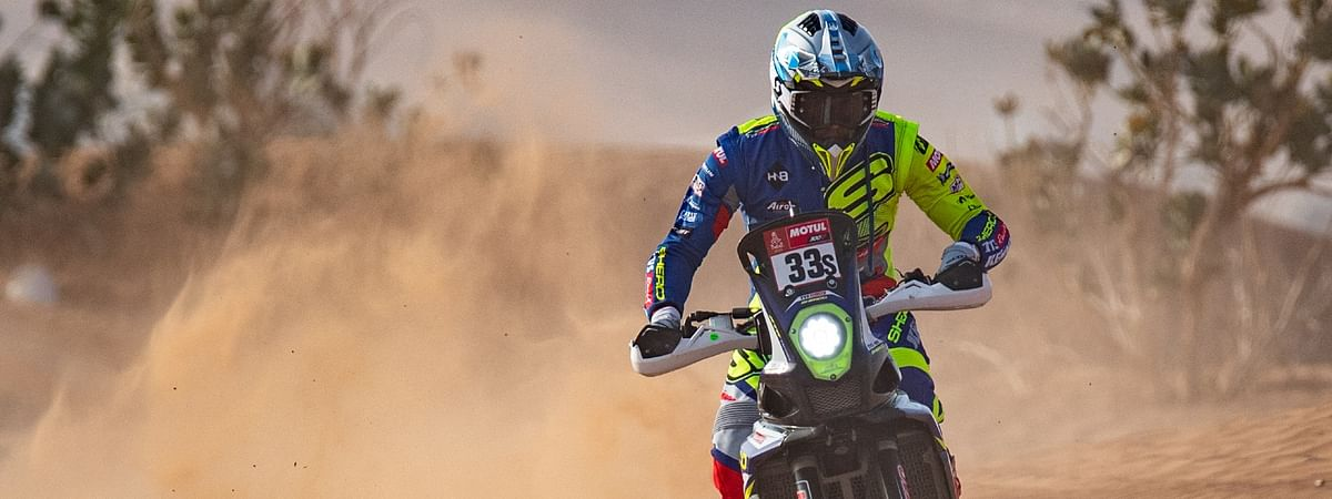 Harith looks to be bouncing back from his crash in Stage 4 of the Dakar 2021
