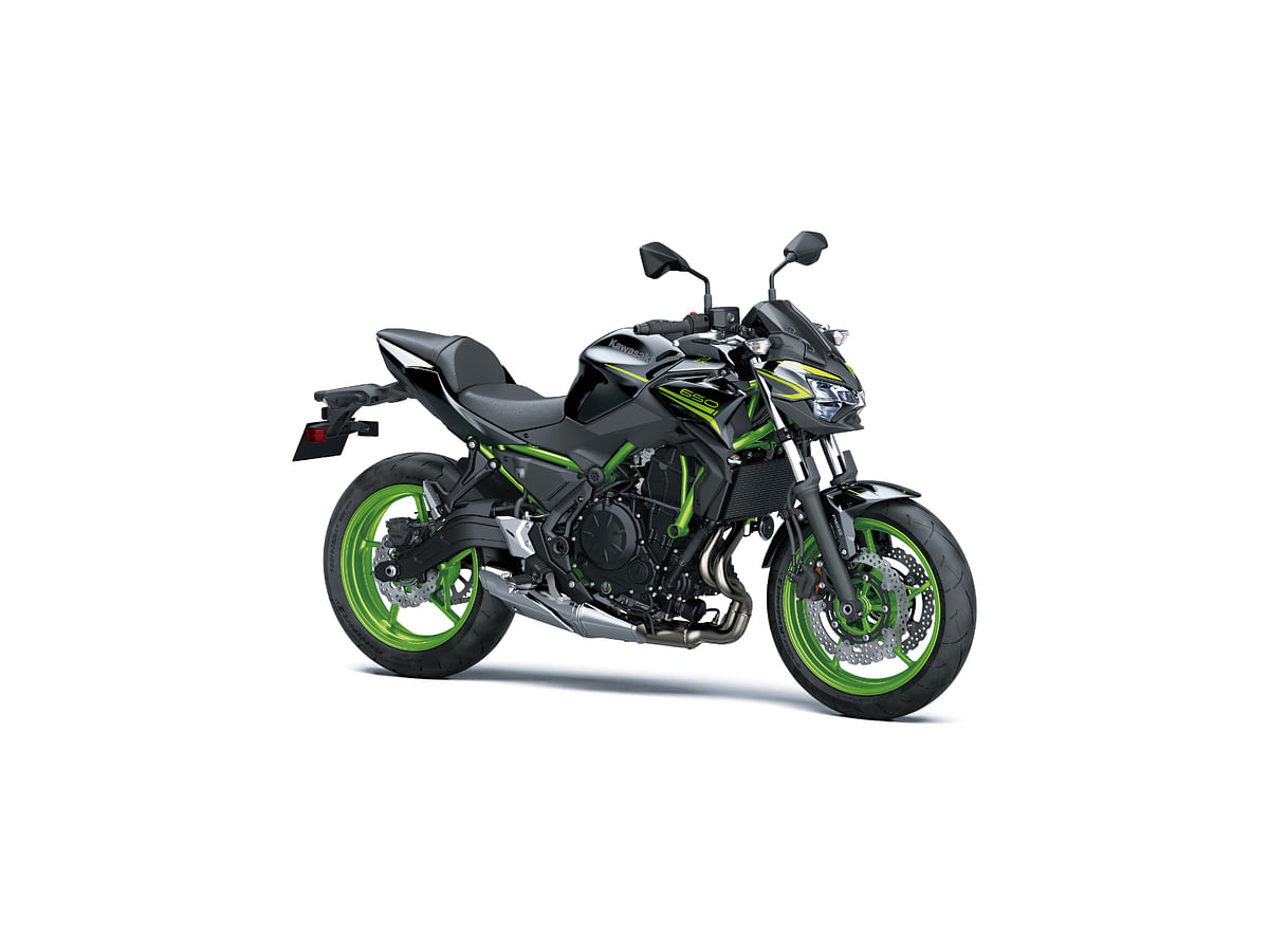 The Z650 gets new green wheels to match the exposed frame