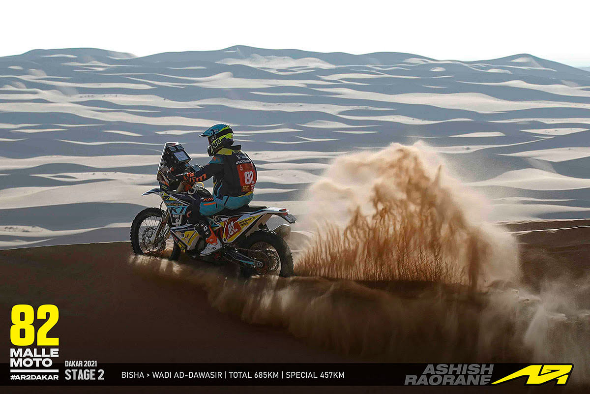 Ashish Raorane in action during Stage 2 of the Dakar 2021