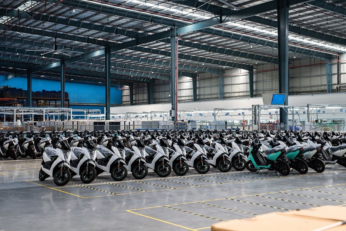 Finished scooters are kept in the loading bay before it is sent away for delivery