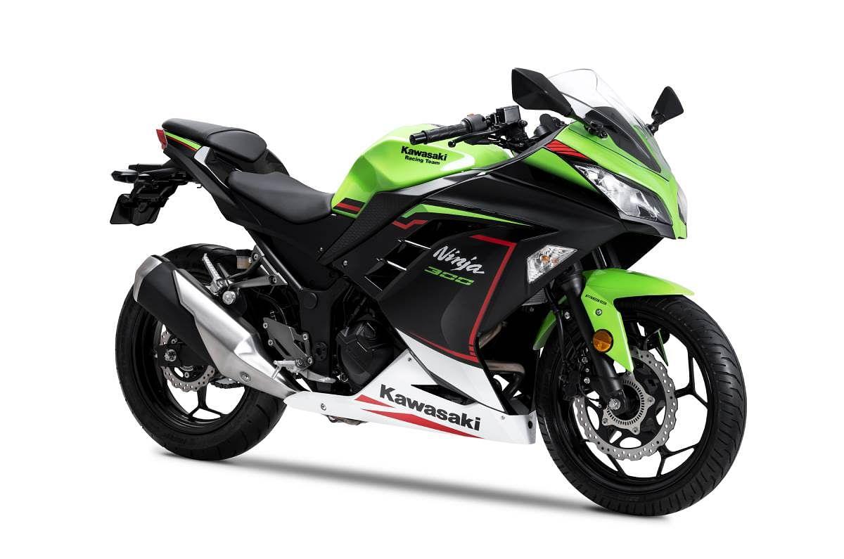 2022 Kawasaki Ninja 300 in the Lime Green color scheme