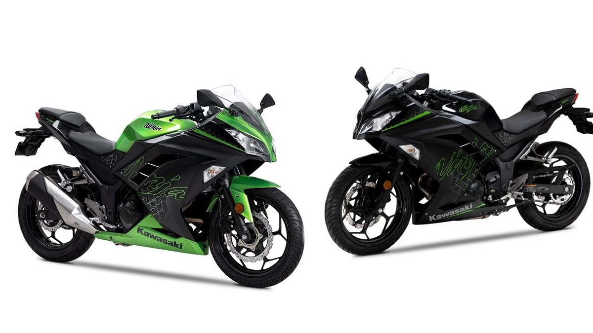 The Ninja 300 now get Candy Lime Green (left) and Ebony Black color schemes