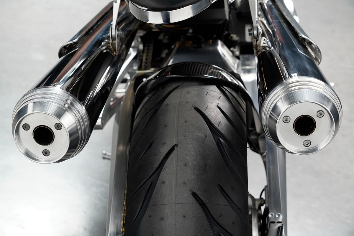 High-set exhausts on either side a subtle nod to T E Lawrence's preference