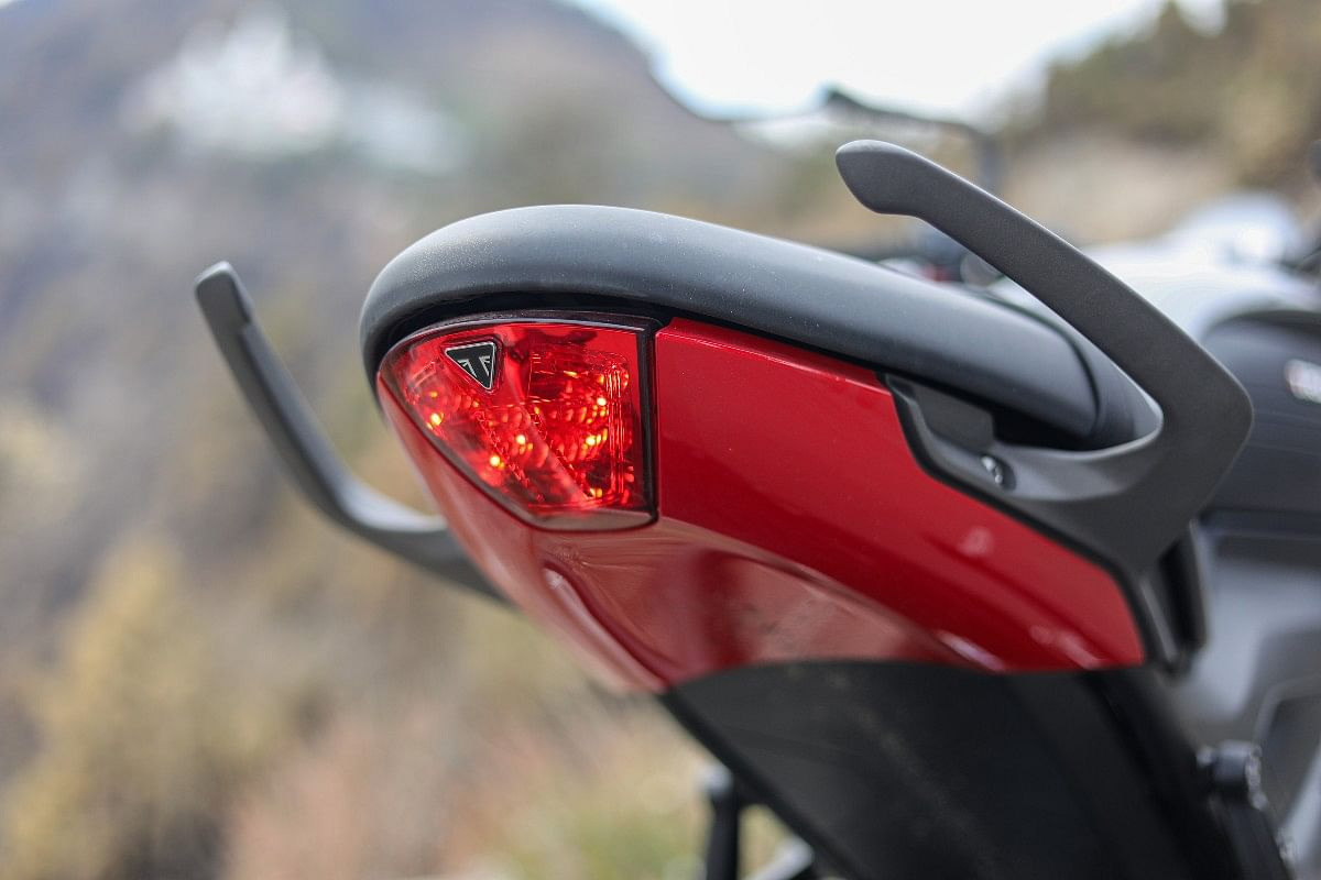 The tail lamp is reminiscent of the Daytona 675