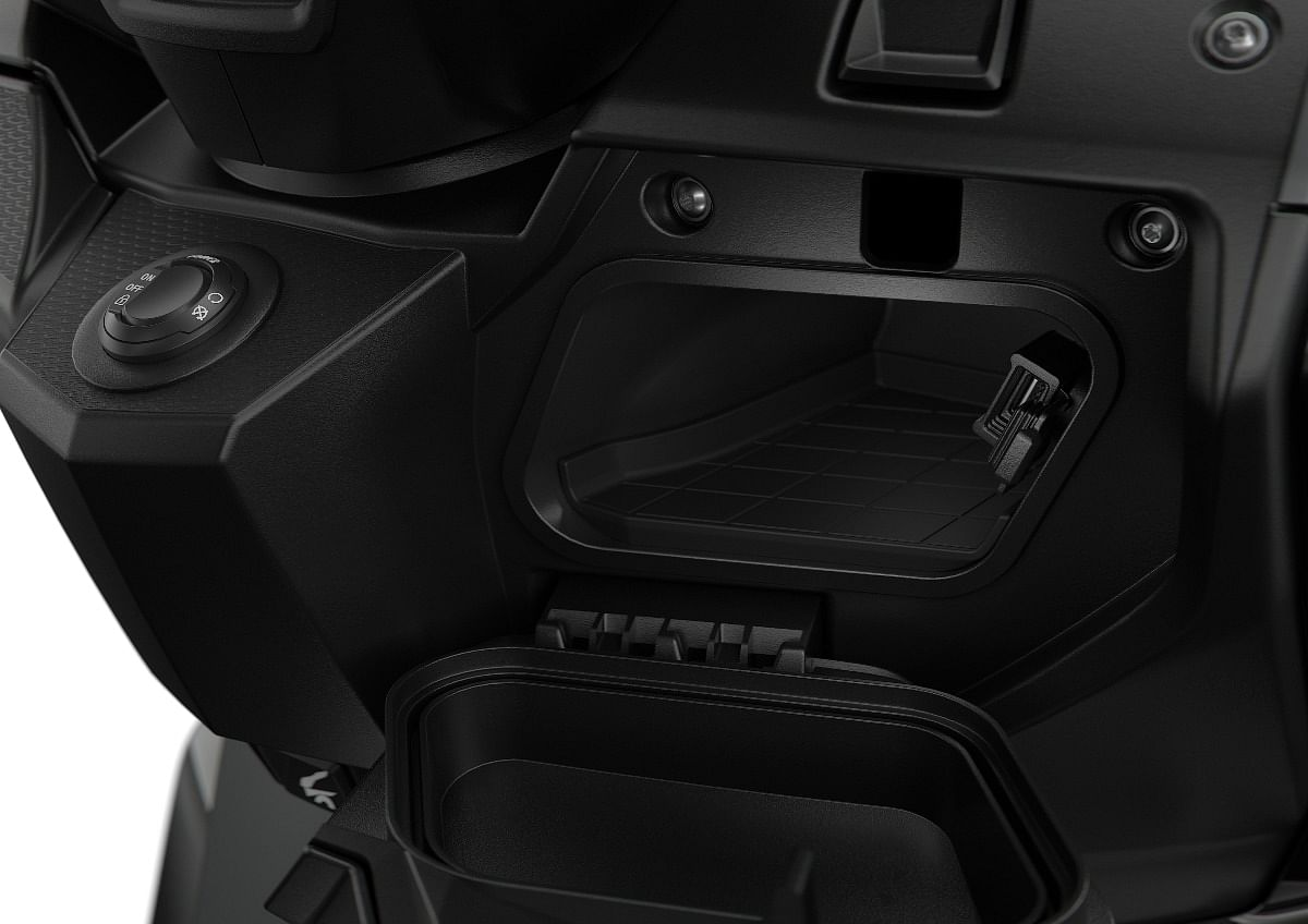 No shortage of storage space on the BMW C 400 GT, along with a USB charging socket