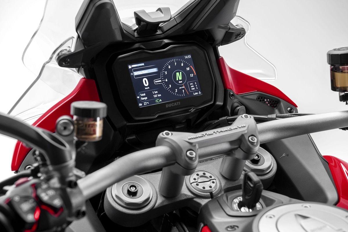 The Multistrada V4 gets a 5-inch digital cluster