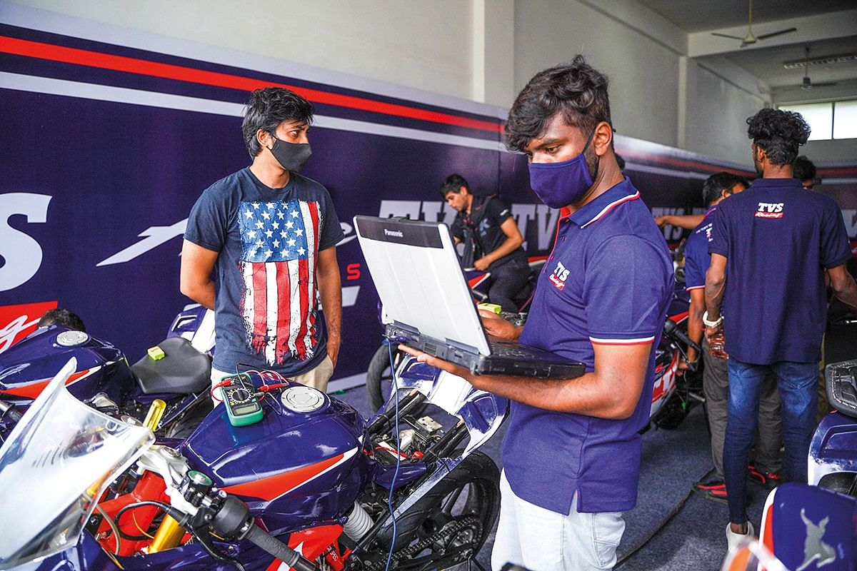 Testing the motorcycles on track helps TVS refine their road models