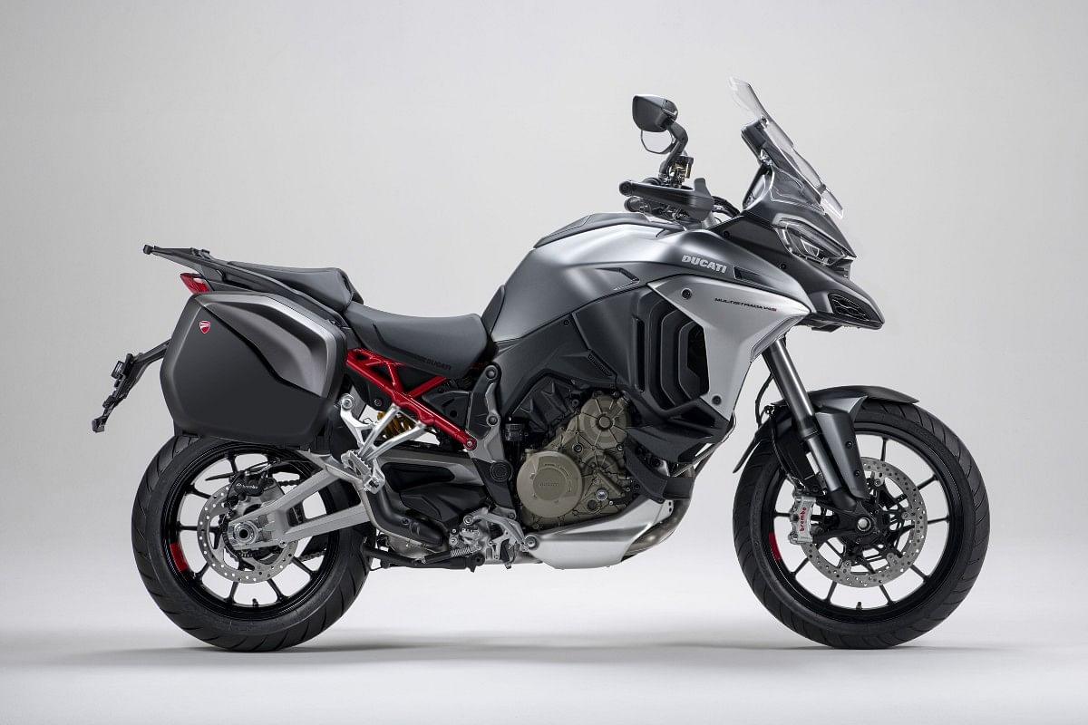The Multistrada V4 range get a 170mm front wheel and a 180mm rear wheel