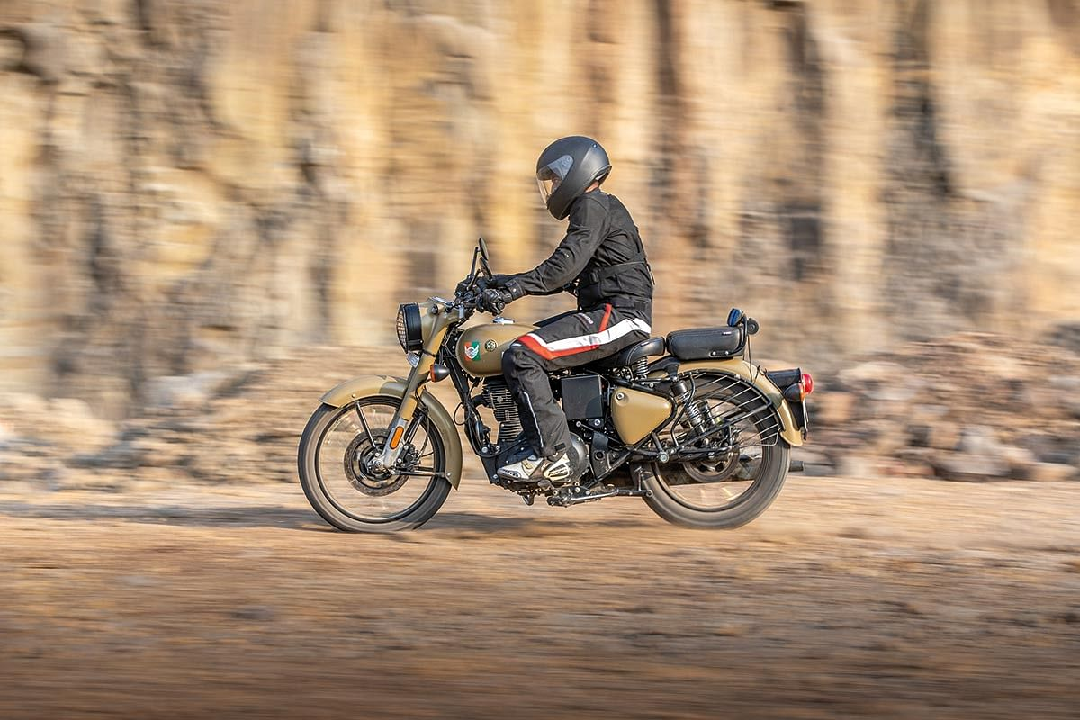 RE Classic 350s are likely to go on a beaten path and one should consider block pattern tyres
