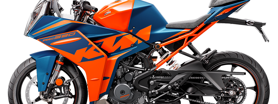 This specific colour scheme on the KTM RC 390 resembles the colours on the RC16 GP bike