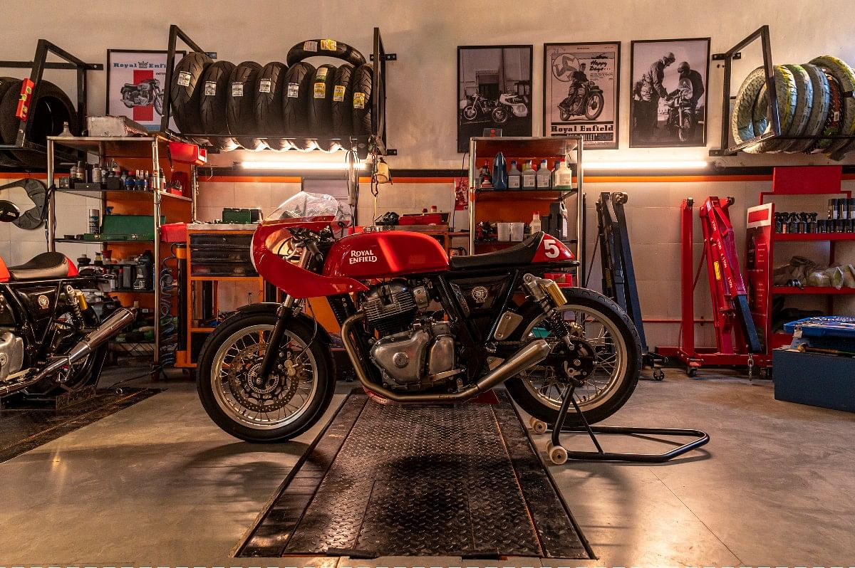 The race-spec bike for the Royal Enfield Continental GT Cup is dubbed the GT-R650
