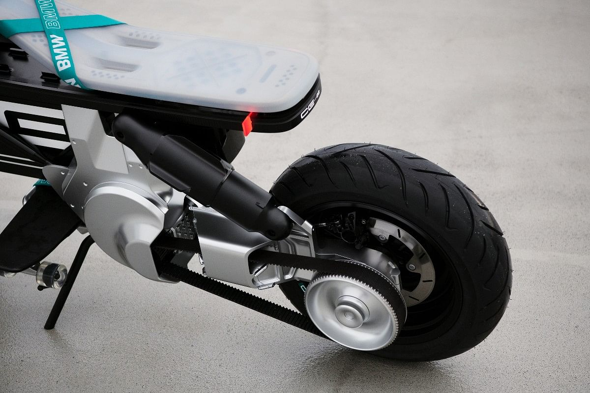 The CE 02 concept is powered by a belt-driven motor