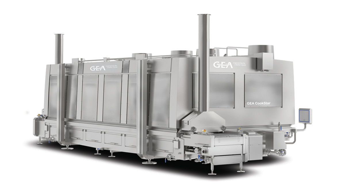 The GEA CookStar 1000 industrial spiral oven offers an improved heat exchanger design and optimized horizontal and vertical airflow.