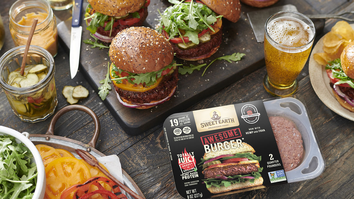 Sweet Earth's vegan hot dog & Awesome Burger with fava & hemp