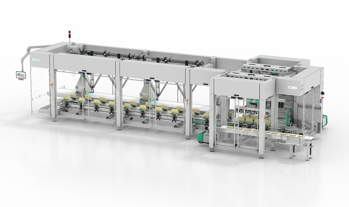 The Sigpack TTMD topload cartoner with integrated Delta robots, picks the products and places them flat or on-edge in the cartons.