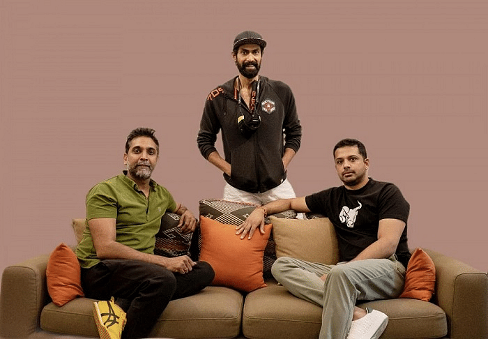 """<div class=""""paragraphs""""><p>Left to right - Prasad Vanga, Anthill Ventures; serial entrepreneur and leading Indian actor Rana Daggubati and Salud Beverages founder-director, Ajay Shetty</p></div>"""