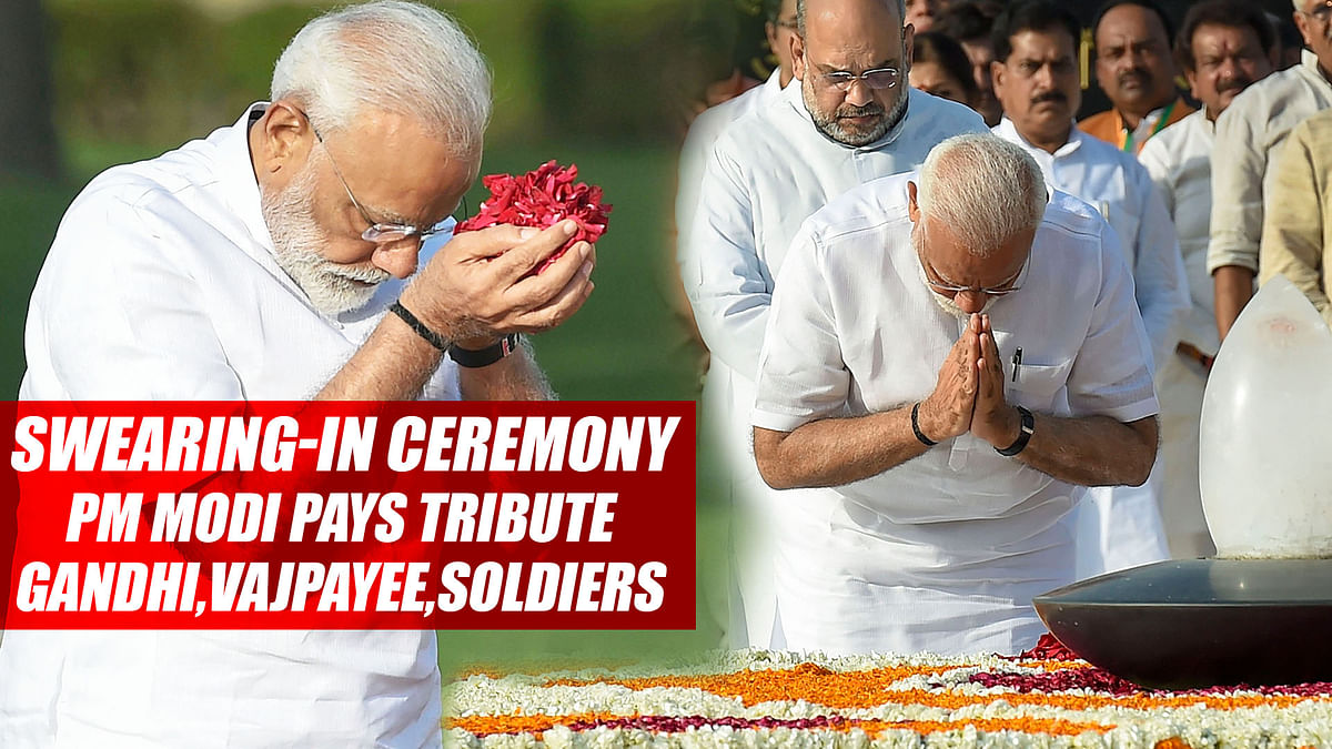 Ahead Of Swearing-In Ceremony, PM Modi Pays Tribute To Mahatma Gandhi, Vajpayee, Soldiers
