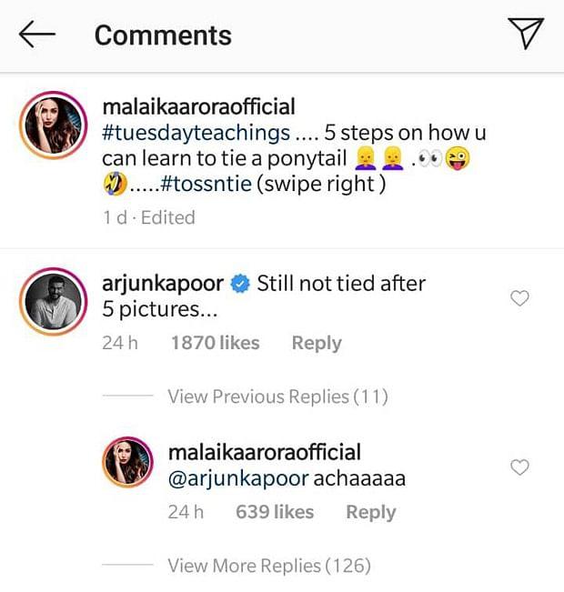 Arjun Kapoor, Malaika Arora had this cute banter over her swimsuit photo