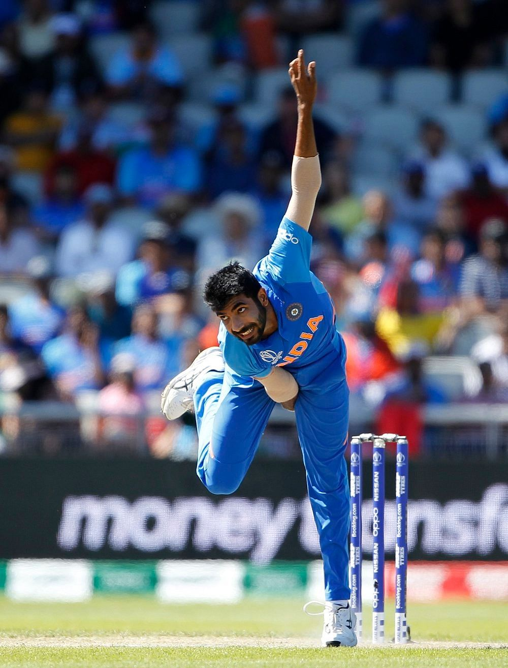 Indian bowler Jasprit Bumrah bowls during a match against West Indies