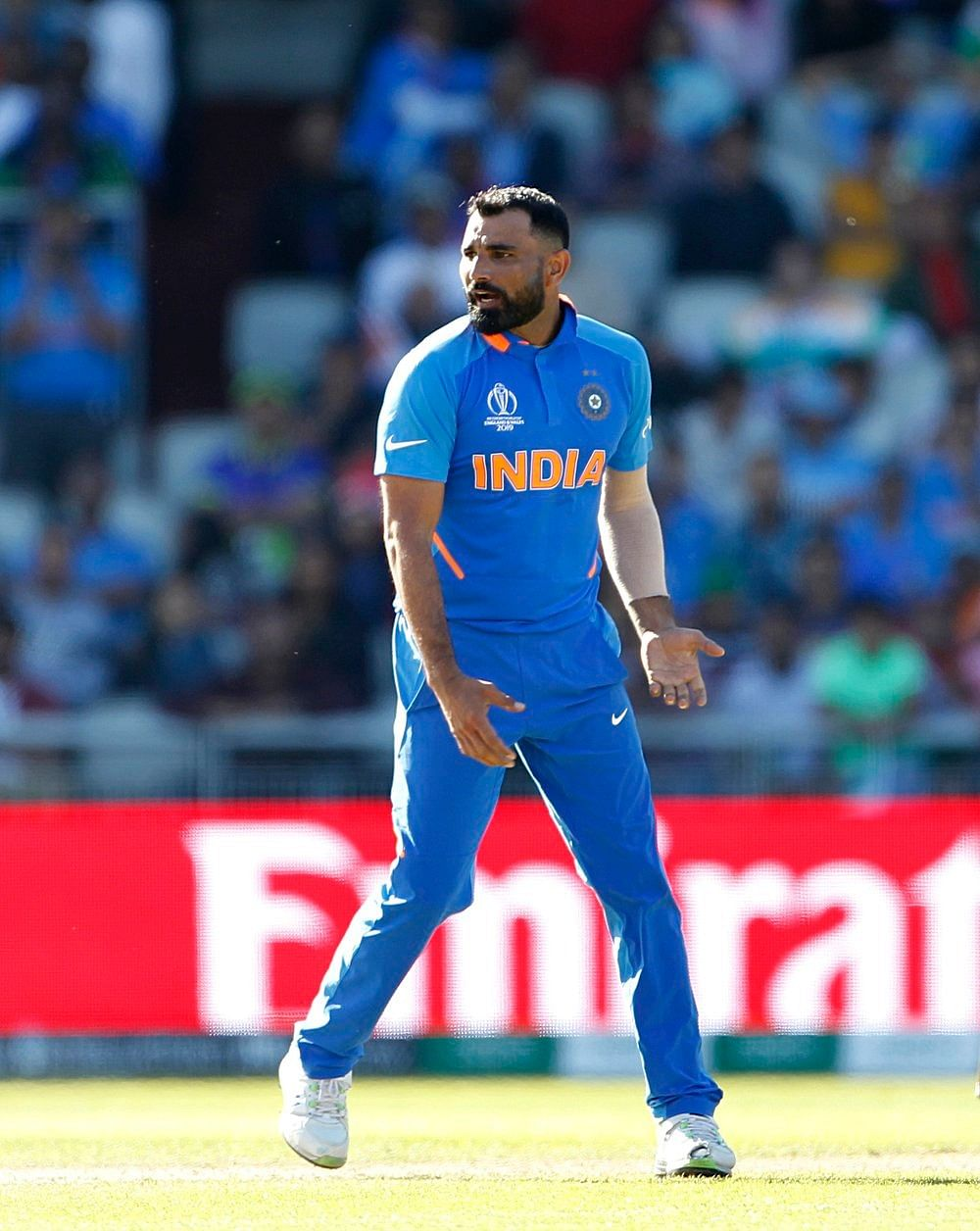 Indian bowler Mohammad Shami celebrates after taking the wicket of Oshane Thomas during a match against West Indies in ICC CWC 2019 at Old Trafford in Manchester on Thursday.