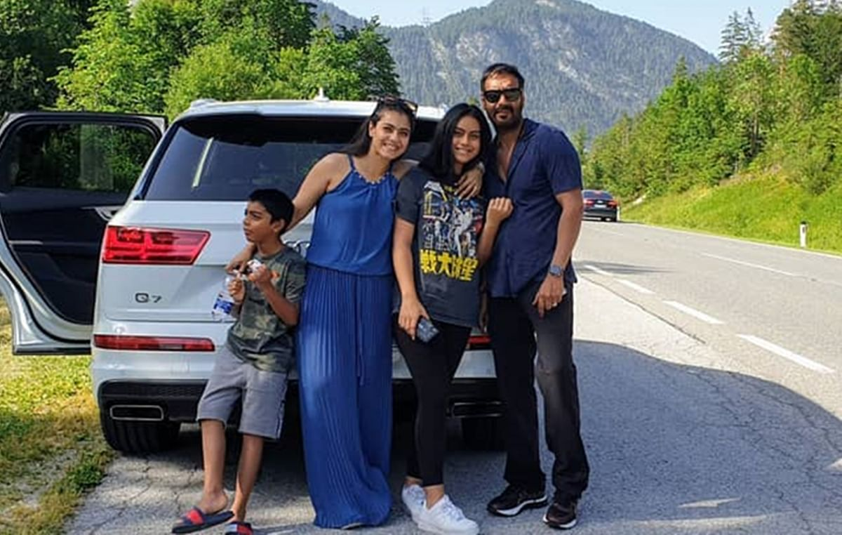 Ajay, Kajol go on road trip with kids Nysa and Yug
