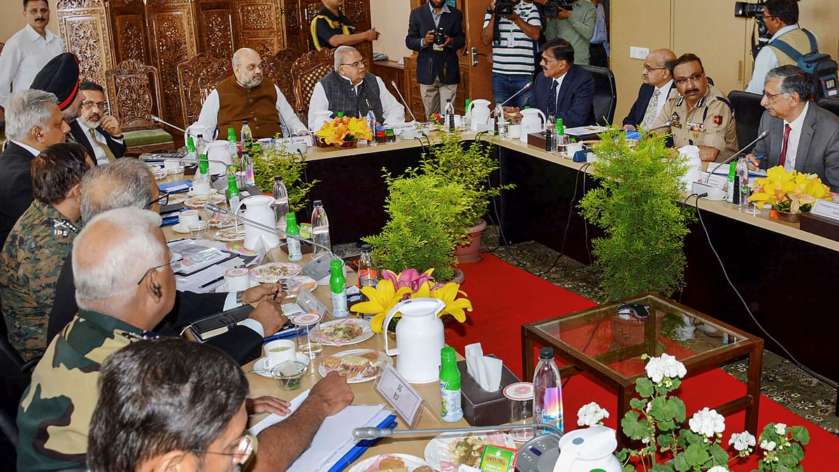 Union Home Minister Amit Shah chairs a meeting to review the security arrangements for the annual Amarnath Yatra, in Srinagar, Thursday, June 27, 2019