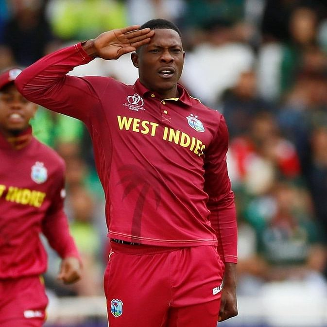 Sheldon Cottrell thanks his cute little Indian fans for performing his salute celebration