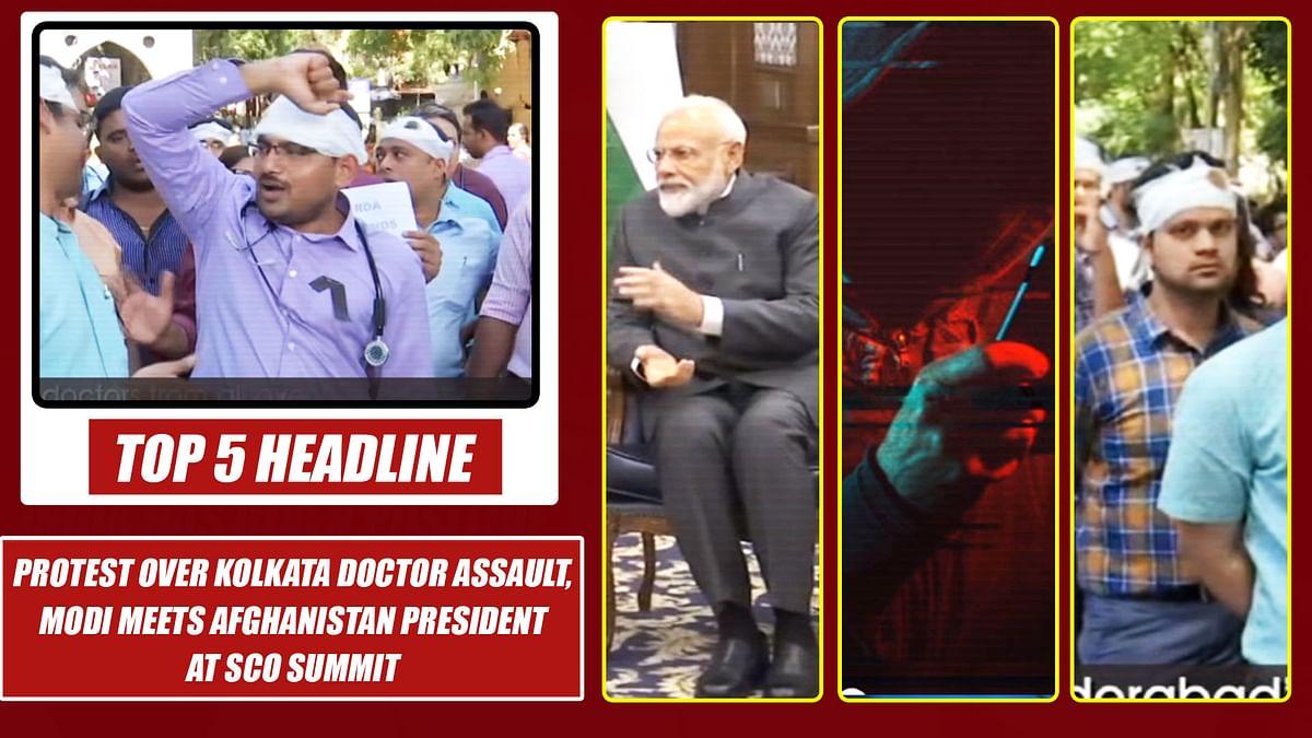 Top 5 Headlines: Protest Over Kolkata Doctor Assault, Modi meets Afghanistan President at SCO Summit