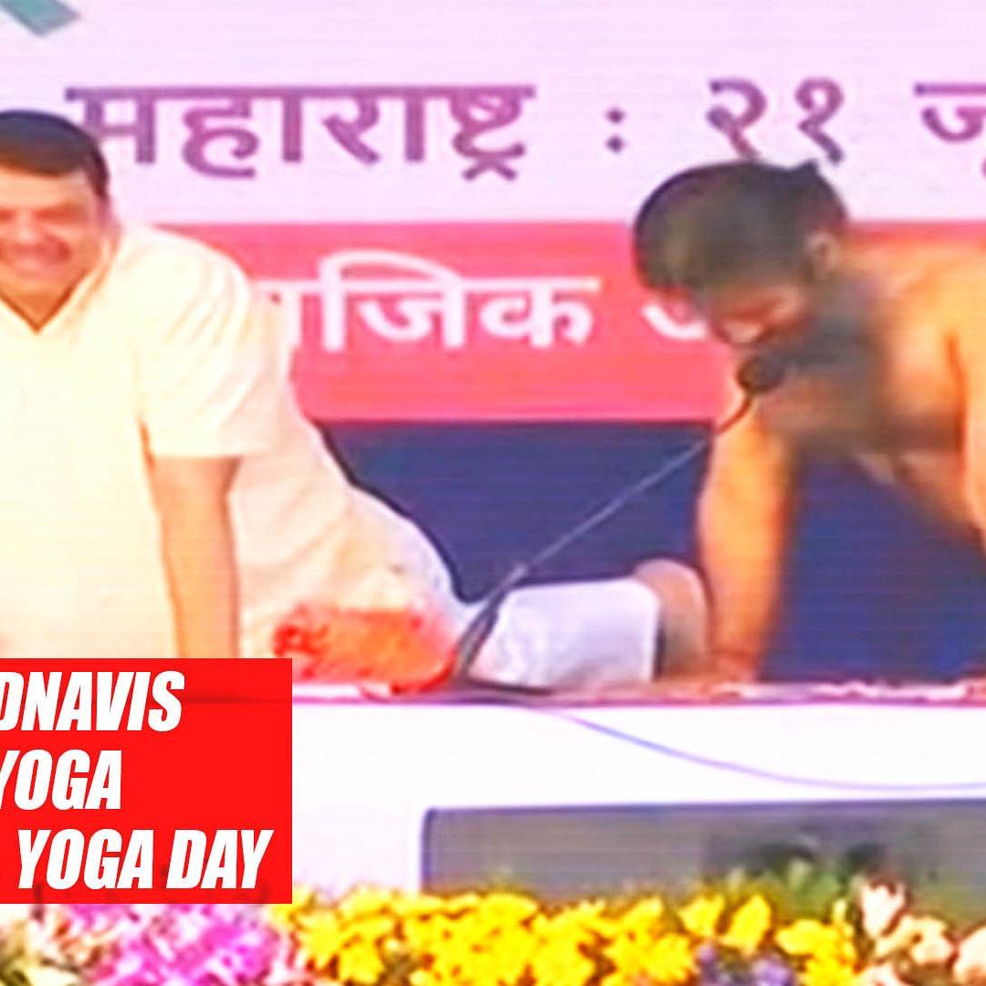 Ramdev, Fadnavis perform yoga on 5th International Yoga Day