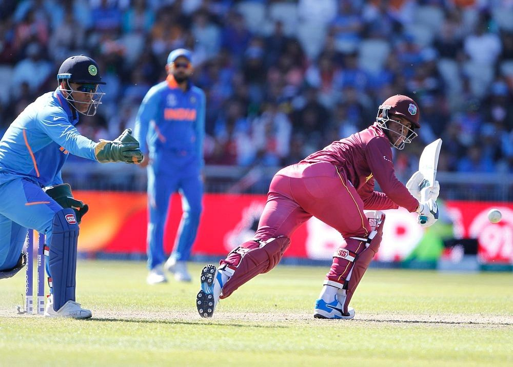 West Indies' batsman Shimron Hetmyer plays a shot during a match against India in ICC CWC 2019 at Old Trafford in Manchester on Thursday.