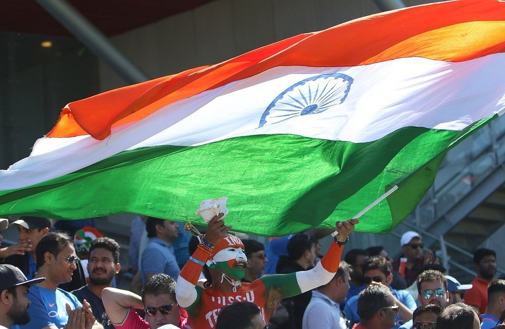 Fans cheer team India during a match between West Indies and India in ICC World Cup 2019