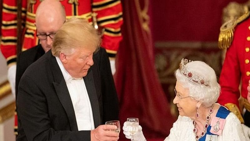 US President Donald Trump With Queen Elizabeth II in Buckingham Palace
