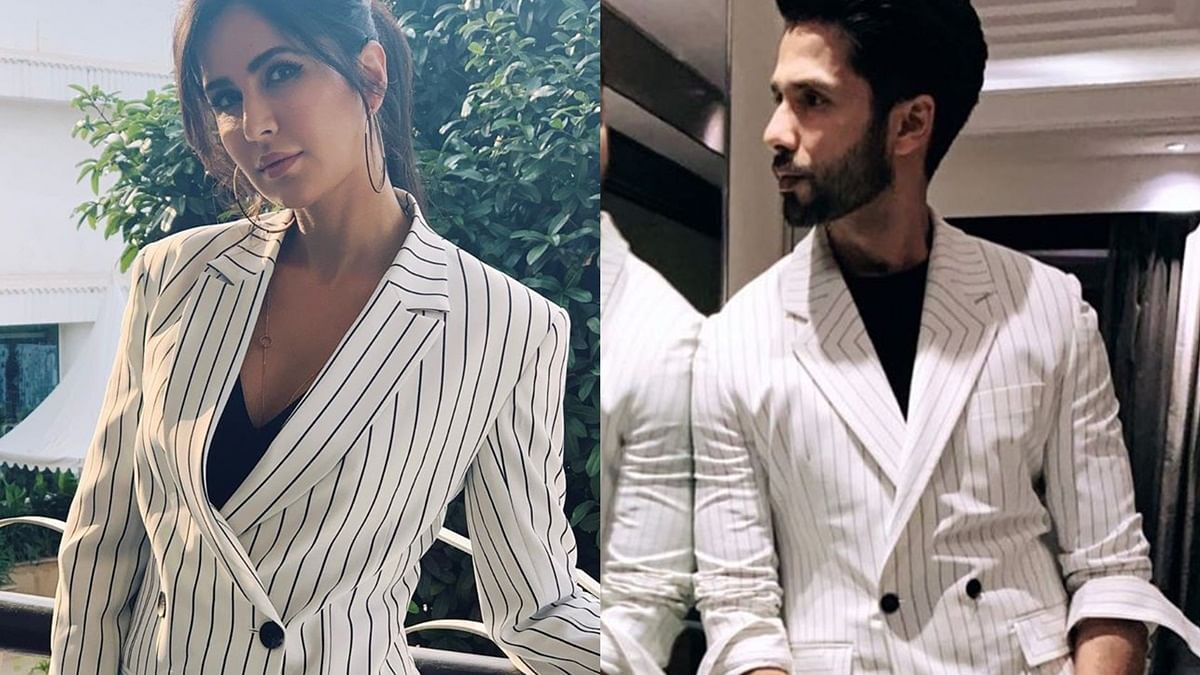 Does Katrina Kaif sport the black and white pantsuit better than Shahid Kapoor? see pics